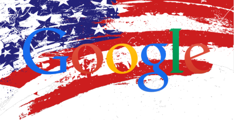 Bandera de los usa con el logo de google